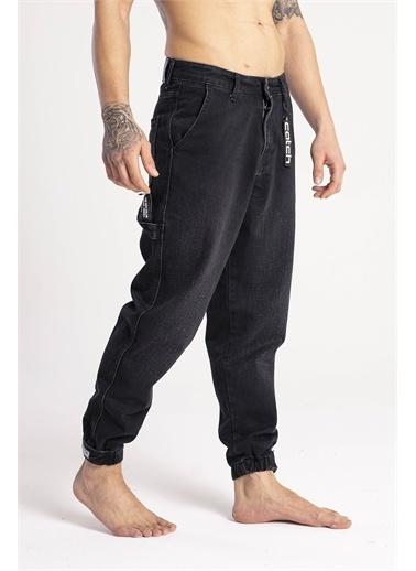XHAN Mavi Paçası Bantlı Jogger Kot Pantolon 1Kxe5-44668-12 Siyah